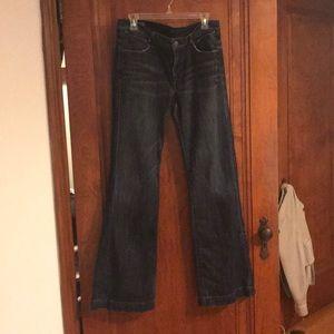 Dark wide leg jeans